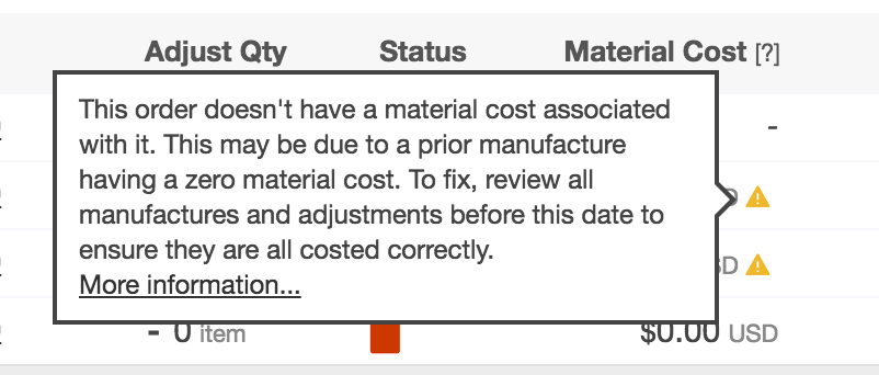 Material cost of zero for adjustment with possible reasons why in Craftybase