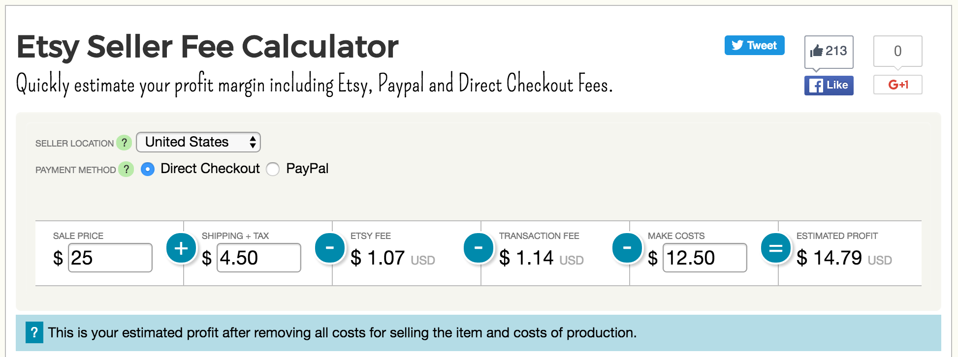 Etsy seller fee and profit calculator improvements