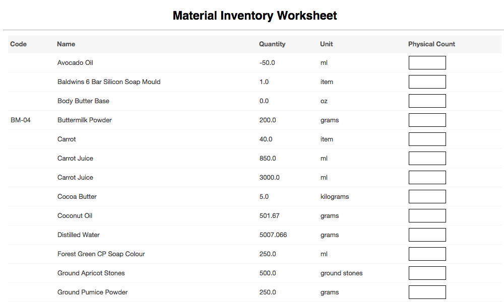 material inventory worksheet report