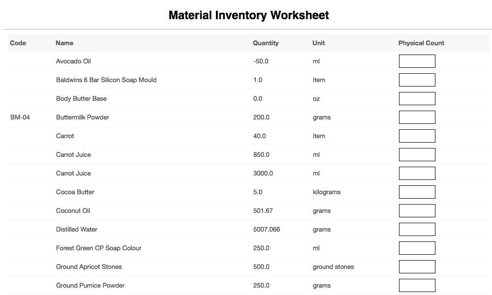 material inventory worksheet report